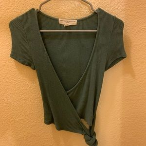 Dark green urban outfitters tie wrap top